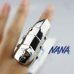 Wholesale Punk Emo Bands - Wholesale-Rock Punk Gothic Goth Emo Cosplay Rings NANA Armour Armor Orbit Finger Silver Ring For Girls