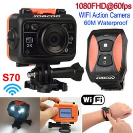 Wholesale Dvr Watch Tf - DHL S70 Waterproof Action Sports Camera WIFI Camcorder 2K NTK96660 Full HD 1080P 60FPS Helmet Camera DVR Diving 60m + watch Remote Control