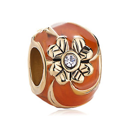 Perline di metallo fiamma online-All'ingrosso e al minuto Fabbrica di gioielli in metallo a mano Smalto FIORE Faberge Uovo di fascino Russion Egg Beads Adatto per bracciali