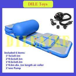 Pista de rolos on-line-Frete grátis um conjunto (4 air track + 1 roller + 1 bomba) pista de ar inflável, insufláveis infláveis air bag esteiras de ginástica inflável