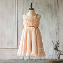 Wholesale Spaghetti Strap Peach Girls - 2017 Peach Junior Bridesmaid Dress, Spaghetti Strap Flower Girl Dress, a line Chiffon dress, Baby Girl dress knee length