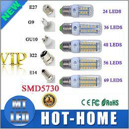 Wholesale E14 7w Corn Led Light - SMD5730 E14 E27 GU10 g9 7W 12W 15W 18W AC 110V 220V 360 angle LED Corn Bulb light Chandelier 24LED 36LED 48LED 56LED