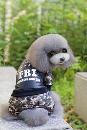 Wholesale Name Brand Winter Coats - WA02 wholesales clothes FBI Nylon Taffta Clothes for 4 legs Winter Dog Jumpsuit Name Brand Pet Dog Clothing Free Shipping