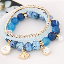 Wholesale Vintage Lucite Bangle Bracelet - 2016 Vintage Bracelet Jewelry Stone Beads Chain Bracelets Sets For Women Bijoux Crystal Eye Pendant Charming Bracelets & Bangles