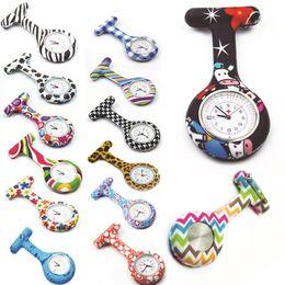 Wholesale Flower Clocks - zebra flower patterns silicone nurse watch fob pocket calenda date clock gift for hospital doctors nursing timepiece high quality