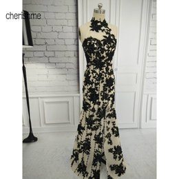 Wholesale Dress Vitage - Sexy High Neck Black Lace Applique Beaded Custom made Sheath Formal Vitage Style Long Mermaid Evening Dresses for Women Party Gowns