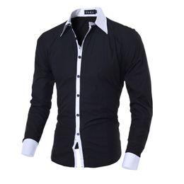 Черная рубашка с длинным рукавом онлайн-Men Shirt Black White Luxury Brand 2017 Male Long Sleeve Shirts Casual Solid Multi-Button Hit Color Slim Fit Dress Shirts M-2XL