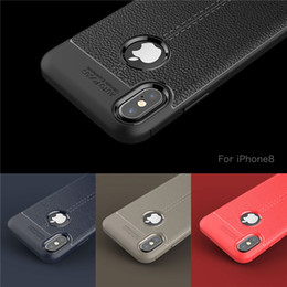 Wholesale Leather Slip Covers - Soft TPU Silicone Case Anti Slip leather texture Phone Cases Cover For iPhone X 8 7 6 6S Plus 5 5S Samsung Note 8 S7 Edge S8 Plus