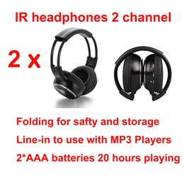 Wholesale Headrest Car Headset - universal free shipping Infrared Stereo Wireless Headphones Headset IR in Car roof dvd or headrest dvd Player two channels 2pcs