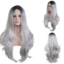 Wholesale Cheap Lace Wig Wholesalers - 2017 Black grey gradient dyed wig synthetic lace front wig Synthetic Wigs for Black Women Dark Roots Natural Cheap