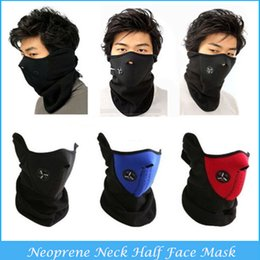 Wholesale Face Warmer Mask - 10PCS Ski Snowboard Bike Motorcycle Face Mask Neoprene Thermal Neck Warm Half Helmet Winter Veil Guard For Outdoor Sport C9-10