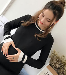 Wholesale Korean Pregnant Style - Pregnant women autumn jacket style 2017 new all-match Korean long sleeved in the long gestation period of winter dress