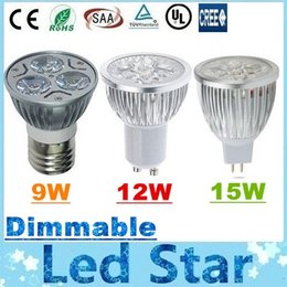 Wholesale Dimmable Led Dhl E27 - DHL Free Shipping + CREE Led Dimmable Spotlights E27 E26 MR16 E14 B22 GU10 9W 12W 15W Led Lights Bulbs Warm Natrual Cold White + CE UL CSA