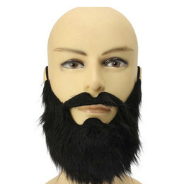 Wholesale Theatrical Dresses - Halloween party dress black beard theatrical prop cos Tricky masquerade Fancy Pirate Dwarf Elf Costume fake beards and mustaches