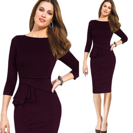 Wholesale Dresses For Work Summer - New summer sexy vintage work dresses for women office fashion women's clothing Trendy high wasited bandon pencil plus size dress WD028