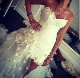 Wholesale Ball Gowns Short Front - Handmade Flowers Wedding Gown 2016 Lace Elegant Luxurious Strapless Wedding Dresses Bridal Gown Lace Up