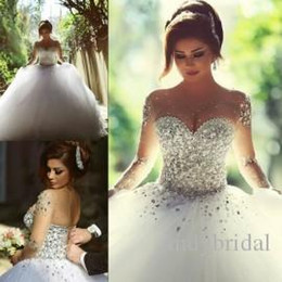 Wholesale Wedding Dress Empire Train Ruched - 2016 Long Sleeve Wedding Dresses with Rhinestones Crystals Backless Ball Gown Wedding Dress Vintage Bridal Gowns Spring Quinceanera Dresses