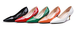 Wholesale Wholesale Green High Heels Shoes - Fashion women High Heels pointe toes PU Patent Leather Shoes solid spring fall summer dress shoes kitten heel green drop shipping
