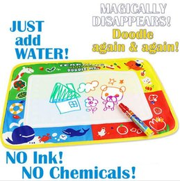 Wholesale Aquadoodle Drawing - Wholesale-46x30cm 4 color Water Drawing Toys Mat Aquadoodle Mat&1 Magic Pen Water Drawing board baby play mat