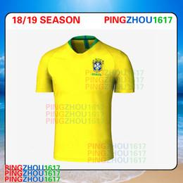 Wholesale Jersey S Wholesale - 2018 World Cup Brazil Soccer Jersey NEYMAR JR P.COUTINHO PELE MARCELO RONALDINHO DAVID LUIZ shirts 2017 2018 Brazil home Football Jerseys