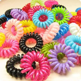 Wholesale Telephone Cord Hair Tie - 10pcs lot Telephone Cord Elastic Ponytail Holders Hair Ring For Girl Rubber Band Tie