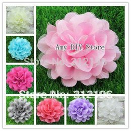 Wholesale Silk Mesh Puff - Free Shipping!60pcs lot Assorted Colours Silk Lace Layered Flowers,Mesh Tulle Puff Flower Flowers,Kids Garment Hair Accessories