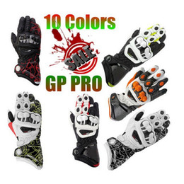 Wholesale Finger Protection - Wholesale-2015 GP PRO Motorcycle Racing Gloves 3 Colors TOP Leather Motocross Moto Road Race Protection Metal Breathable Printing Gloves