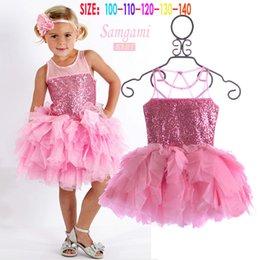 Wholesale Thin Knee Length Dress - Summer High Quality Girl Children Thin sand Sequined dress +hairband 2pcs suit Children's Part tutu dress kids clothing C001