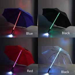 Wholesale Led Flashing Umbrellas - 7 Color LED Lightsaber Light Up Umbrella Laser sword Light up Golf Umbrellas Changing On the Shaft Built in Torch Flash Umbrella