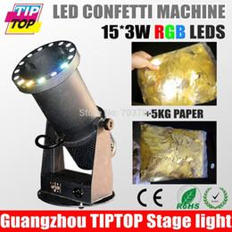 Wholesale Cheap Wedding Confetti - Wholesale-Cheap Price 1200W LED Confetti Cannon with LED + 5KG Confetti Paper Free Wedding Confetti Machine 15*3W RGB Color AC90V-240V