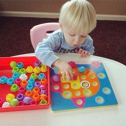 Wholesale Picture Puzzles Kids - 3D Toys For Children Composite Picture Puzzle Creative Mosaic Mushroom Nail Kit Educational Toys Button Art Kids Toy