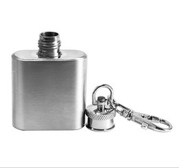 Wholesale Mini Flask 1oz - Portable 1oz Mini Stainless Steel Hip Flask Alcohol Flagon with Keychain