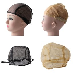 Wholesale Lace Net Wigs - 10PCS Nylon Net Wig Cap For Making Wigs with Adjustable stretch net Strap on Back Wig Cap for Lace Wigs Black blonde two color