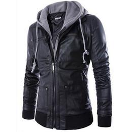 Wholesale Leather Coat Hood Men - 2015 New brand men leather jacket mens hooded leather jacket with fur hood leather jacket zipper design Motorcycle Leisure coat FG1511