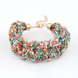 Wholesale Vintage Lucite Bangle Bracelet - 2015 Fashion Jewelry bracelet Bohemia Style Retro Bead Multicolor Charm Vintage Love Cuff Women Bracelets & Bangles