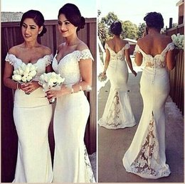 Wholesale Empire Bridesmaid Sleeves - $69 Cheap White Off Shoulder Lace Bridesmaid Dresses 2016 Spring Long Mermaid Satin Wedding Party Dresses with Covered Button BO7388