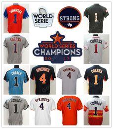 Wholesale Houston Black - HOT NEW CHAMPS Champion HOUSTON Carlos Correa George Springer Jose Altuve Verlander Bregman Keuchel Gurriel Flexbase Baseball jersey