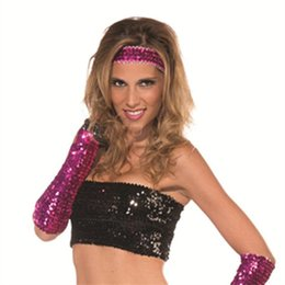 Wholesale Sexy Disco Party - Wholesale- Black silver red purple golden Sequins Sexy lady Disco dance costume party lace finger short punk gloves free shippinge
