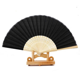 Wholesale paper chinese folding fans - Wholesale- Chinese Folding Bamboo Fan Retro Hand Paper Fans Wedding Favors Gift Free Shipping
