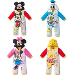 Wholesale Donald Duck Rompers - 2015 baby boys girls Cartoon mickey donald duck long sleeve spring autumn cotton hooded rompers for children