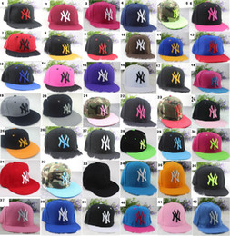 Wholesale Wholesale Sports Caps Hats - 42 colors Yankees Hip Hop MLB Snapback Baseball Caps NY Hats MLB Unisex Sports New York Women casquette Men Casual headware