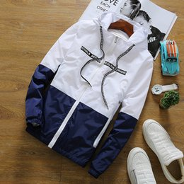 Весна Соответствия Цветов Куртки Тонкие Модные Верхней Верхней Верхней Одежды Для Мужчин С Шляпа Свободные Спортивные Пальто от