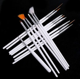 Wholesale Uv Paint Set - 1000 Sets Lady Women Nail Art Design acrylic brush UV Gel Set Painting Draw Pen white Hand 15 Pcs Set BY DHL