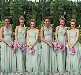 Wholesale Long Mint Green Prom Dress - Perfect Matching 3 Styles Long Mint Chiffon Bridesmaid Dresses One Shoulder A-line Floor Length Chiffon Bill Levkoff Wedding Party Prom Gown