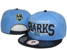 Wholesale Cheap Shark Hats - Snapback Cap NRL Cronulla Sharks blue black sports team hats hip pop mens women classic Cheap fashion adjustable snapbacks caps DDMY