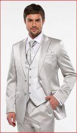 Wholesale Silver Shiny Suit - Custom Made Groom Tuxedos Shiny Silver Groomsmen Peak Lapel Best Man Suit Bridegroom Wedding Prom Dinner Suits (Jacket+Pants+Tie+Vest) K628