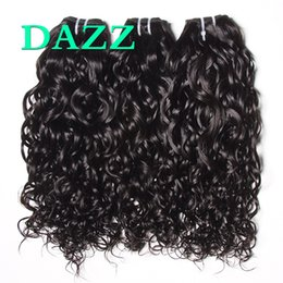 Wholesale Wet Wavy Hair Extensions - DAZZ Mink Brazilian Virgin Hair Water Wave Hair 4 Bundles Deals Weave Bundles Water Wave Bundles Remy Wet And Wavy Human Hair Extensions