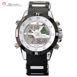 Wholesale Shark Military Sports Watch - Digital SHARK Analog Dual Time Date Day Alarm Silicone Strap Outdoor White Quartz Wrap Wrist Military Men's Sports Watch   SH041