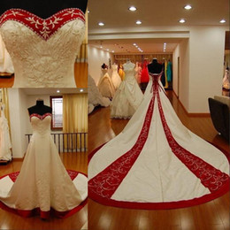 Wholesale Custom Made Cathedral Wedding Dress - 2015 Real Photos Red And White Embroidery Wedding Dresses Plus Size Custom Made Elegant Cathedral Train Sweeetheart Vingate Bridal Gowns