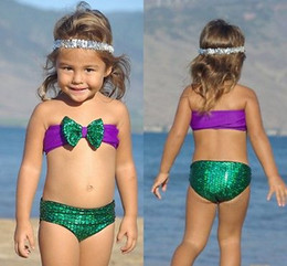 Wholesale Swimsuits For Big Girls - Baby Girls Sequins Mermaid Swimwear Children's Big Bow Two Pieces Swimsuit Bikini Set Bathsuit For 2-7Y